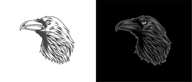 Illustrazione di un corvo rivolto lateralmente in colori colorati Vettore Premium