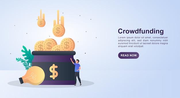 Illustrazione del crowdfunding con tante monete nel barattolo.