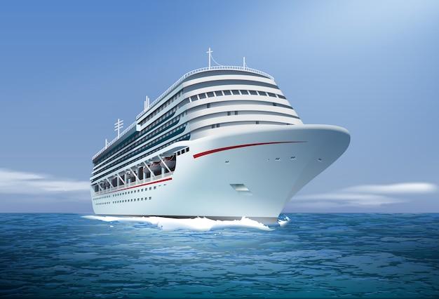 Illustrazione della nave da crociera in mare o in mare