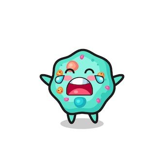 L'illustrazione dell'ameba che piange bambino carino, design in stile carino per maglietta, adesivo, elemento logo
