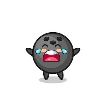 L'illustrazione della palla da bowling che piange bambino carino, design in stile carino per maglietta, adesivo, elemento logo