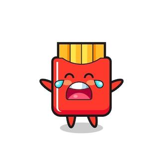 L'illustrazione di piangere patatine fritte bambino carino, design in stile carino per maglietta, adesivo, elemento logo