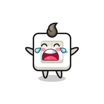 L'illustrazione dell'interruttore della luce che piange bambino carino, design in stile carino per maglietta, adesivo, elemento logo