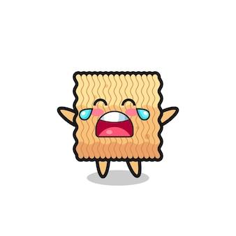 L'illustrazione del pianto di un bambino carino di spaghetti istantanei crudi, design in stile carino per maglietta, adesivo, elemento logo