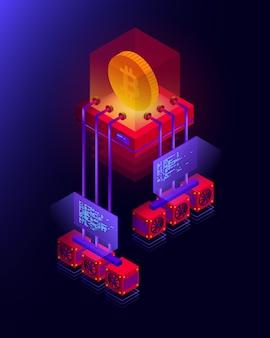 Illustrazione della fattoria mineraria di criptovaluta, elaborazione di grandi quantità di dati per bitcoin, concetto isometrico blockchain nei colori viola e rosso