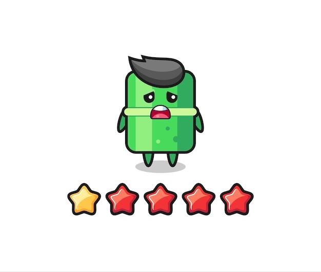 L'illustrazione della valutazione negativa del cliente, il simpatico personaggio di bambù con 1 stella, il design in stile carino per la maglietta, l'adesivo, l'elemento logo