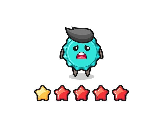 L'illustrazione della valutazione negativa del cliente, il simpatico personaggio del tappo di bottiglia con 1 stella, il design in stile carino per la maglietta, l'adesivo, l'elemento del logo