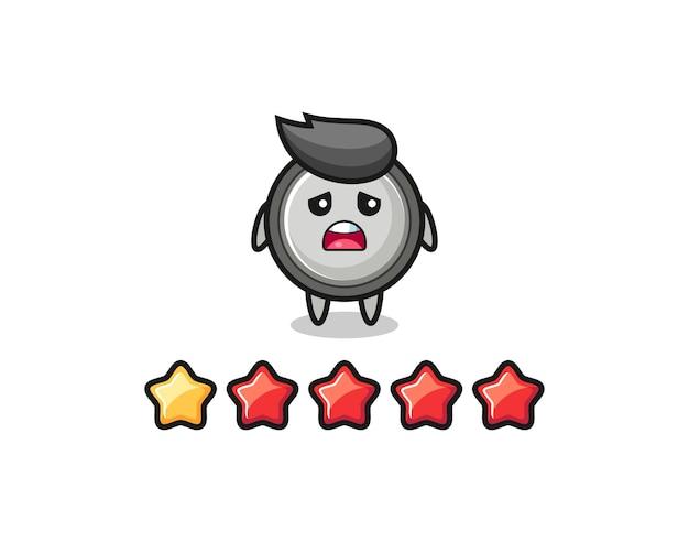 L'illustrazione della valutazione negativa del cliente, personaggio carino a cella a bottone con 1 stella, design in stile carino per t-shirt, adesivo, elemento logo