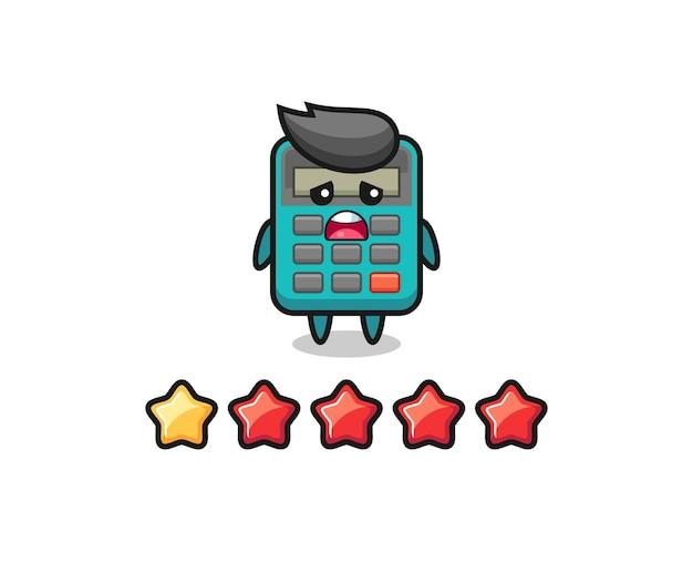 L'illustrazione della valutazione negativa del cliente, il simpatico personaggio della calcolatrice con 1 stella, il design in stile carino per la maglietta, l'adesivo, l'elemento logo
