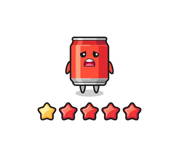 L'illustrazione della valutazione negativa del cliente, la bevanda può personaggio carino con 1 stella, design in stile carino per t-shirt, adesivo, elemento logo