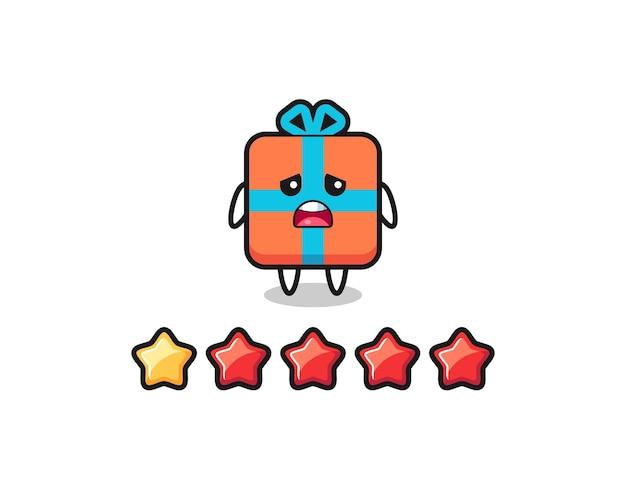 L'illustrazione della valutazione negativa del cliente, il simpatico personaggio della confezione regalo con 1 stella, il design in stile carino per la maglietta, l'adesivo, l'elemento del logo