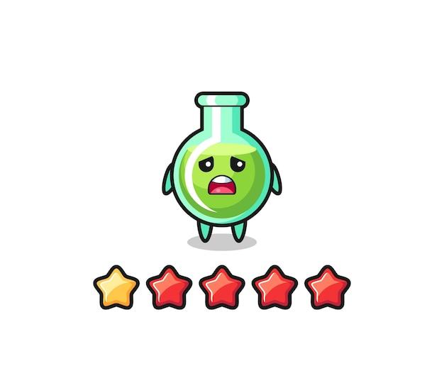 L'illustrazione della valutazione negativa del cliente, becher da laboratorio simpatico personaggio con 1 stella, design in stile carino per t-shirt, adesivo, elemento logo