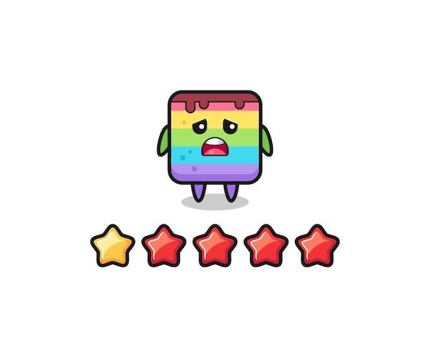 L'illustrazione della valutazione negativa del cliente, personaggio carino torta arcobaleno con 1 stella, design in stile carino per t-shirt, adesivo, elemento logo