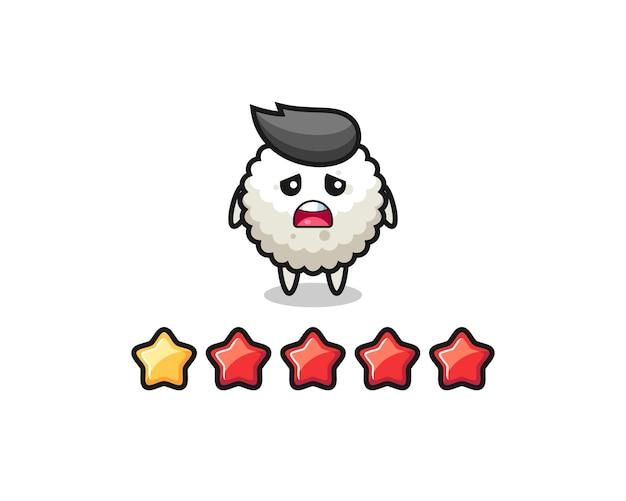 L'illustrazione della valutazione negativa del cliente, il simpatico personaggio della palla di riso con 1 stella, il design in stile carino per la maglietta, l'adesivo, l'elemento del logo