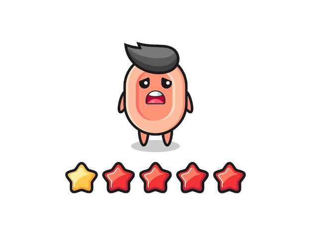 L'illustrazione della cattiva valutazione del cliente, il simpatico personaggio del sapone con 1 stella, il design in stile carino per la maglietta, l'adesivo, l'elemento logo