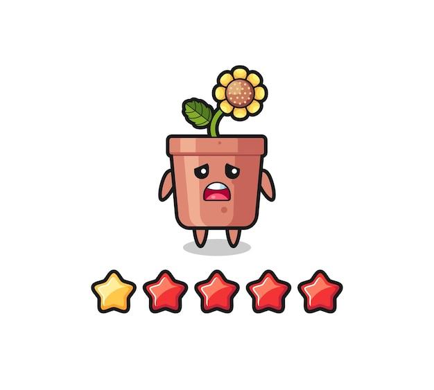 L'illustrazione della cattiva valutazione del cliente, un simpatico personaggio con vaso di girasole con 1 stella, un design carino in stile per t-shirt, adesivo, elemento logo