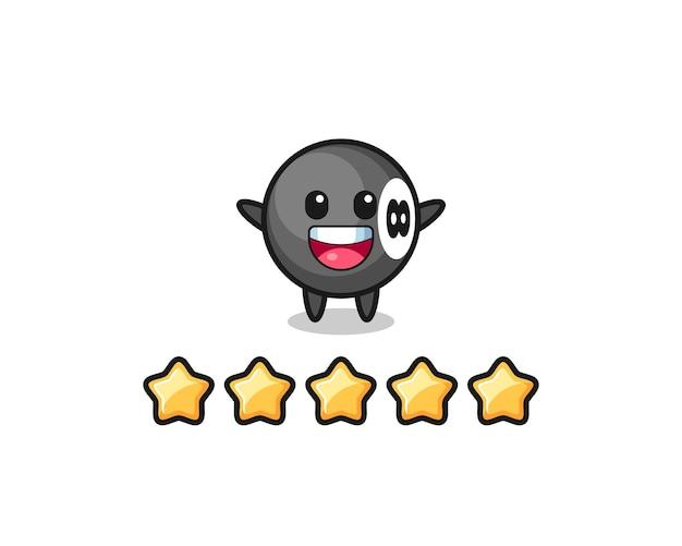 L'illustrazione della migliore valutazione del cliente, personaggio carino da biliardo con 8 palline con 5 stelle, design in stile carino per t-shirt, adesivo, elemento logo