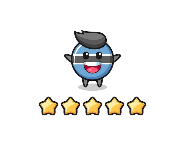 L'illustrazione della migliore valutazione del cliente, distintivo della bandiera del botswana simpatico personaggio con 5 stelle, design in stile carino per t-shirt, adesivo, elemento logo