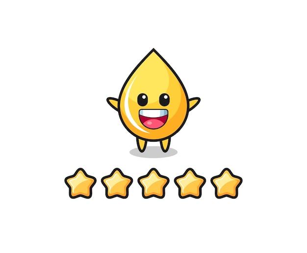 L'illustrazione della migliore valutazione del cliente, personaggio carino goccia di miele con 5 stelle, design in stile carino per t-shirt, adesivo, elemento logo