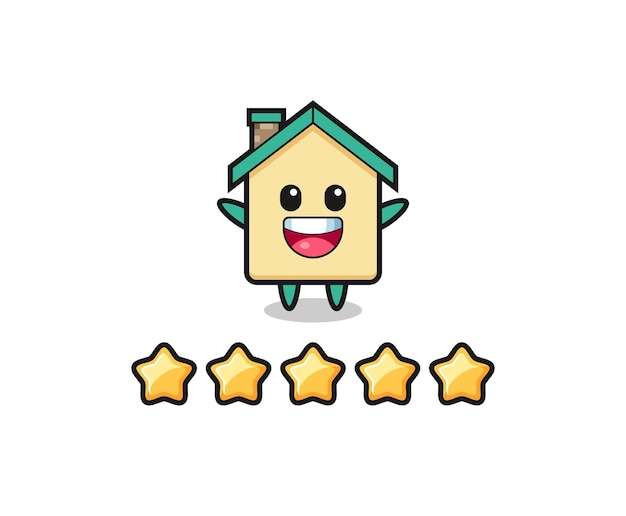 L'illustrazione della migliore valutazione del cliente, casa personaggio carino con 5 stelle, design carino