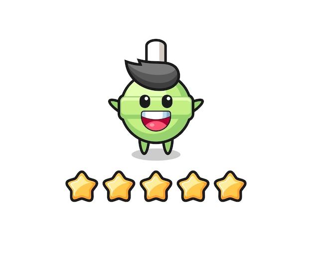 L'illustrazione della migliore valutazione del cliente, simpatico personaggio lecca-lecca con 5 stelle, design in stile carino per t-shirt, adesivo, elemento logo
