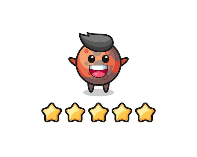 L'illustrazione della migliore valutazione del cliente, personaggio carino di marte con 5 stelle, design in stile carino per t-shirt, adesivo, elemento logo