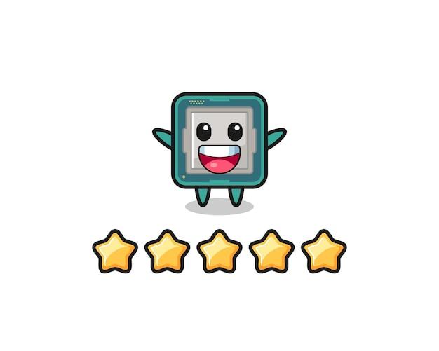 L'illustrazione della migliore valutazione del cliente, il simpatico personaggio del processore con 5 stelle, il design in stile carino per maglietta, adesivo, elemento logo
