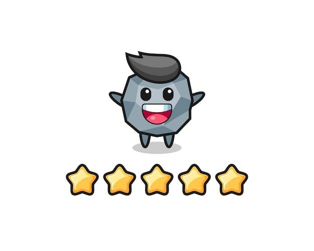 L'illustrazione della migliore valutazione del cliente, personaggio carino in pietra con 5 stelle, design in stile carino per maglietta, adesivo, elemento logo