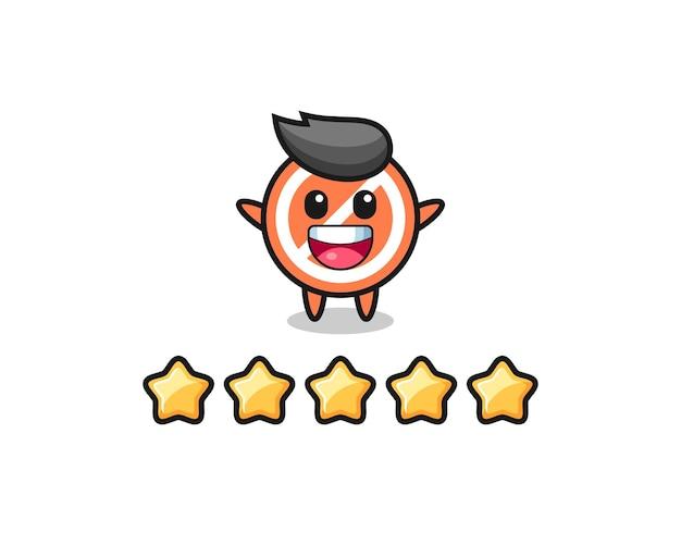 L'illustrazione della migliore valutazione del cliente, segno di stop simpatico personaggio con 5 stelle, design in stile carino per t-shirt, adesivo, elemento logo