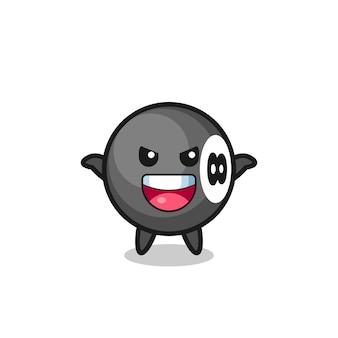 L'illustrazione di un simpatico biliardo a 8 palle che fa un gesto spaventoso, un design in stile carino per maglietta, adesivo, elemento logo