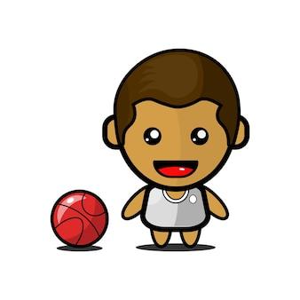 Illustrazione del giocatore di basket carino vettore premium
