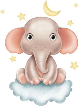 Illustrazione di un simpatico elefante beige seduto su una nuvola sullo sfondo di stelle e luna