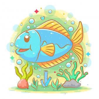 L'illustrazione del simpatico pesce azzurro con la vista fresca