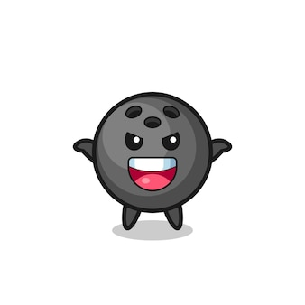 L'illustrazione di una palla da bowling carina che fa un gesto spaventoso, un design in stile carino per maglietta, adesivo, elemento logo