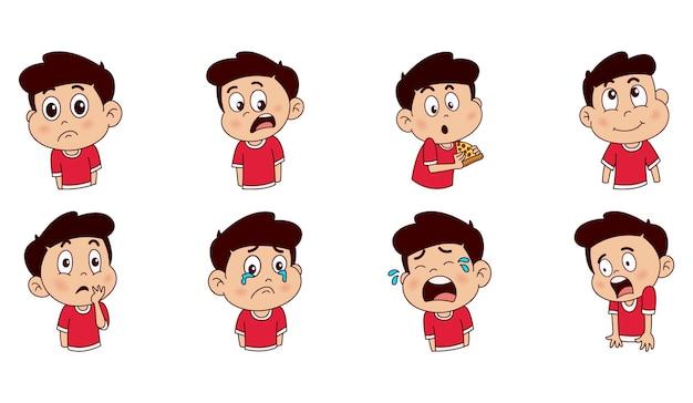 Illustrazione di set di caratteri ragazzo carino