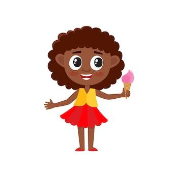 Illustrazione della ragazza afroamericana sveglia del fumetto in vestito con gelato su bianco.