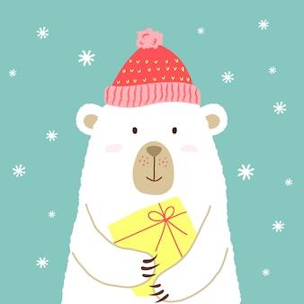 Illustrazione di orso simpatico cartone animato in cappello caldo con regalo nelle mani