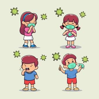Illustrazione del ragazzo e della ragazza svegli del fumetto che chiedono di indossare maschere facciali mediche