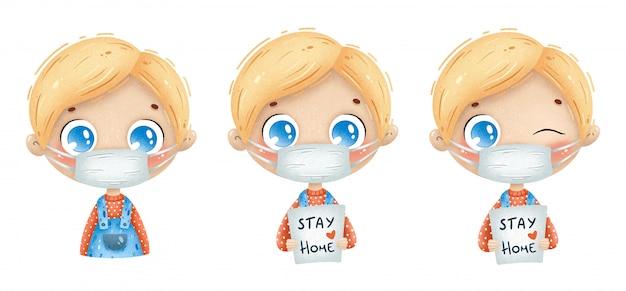Illustrazione del ragazzo sveglio del fumetto che indossa la maschera di protezione medica. illustrazione di quarantena