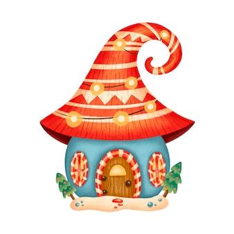 Illustrazione di una casa di gnomo di natale simpatico cartone animato