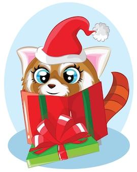 Illustrazione del procione di natale sveglio del fumetto con il regalo in una scatola regalo verde.