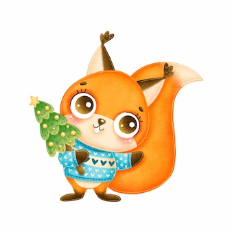Illustrazione dello scoiattolo di natale sveglio del fumetto che porta maglione blu con l'albero di natale