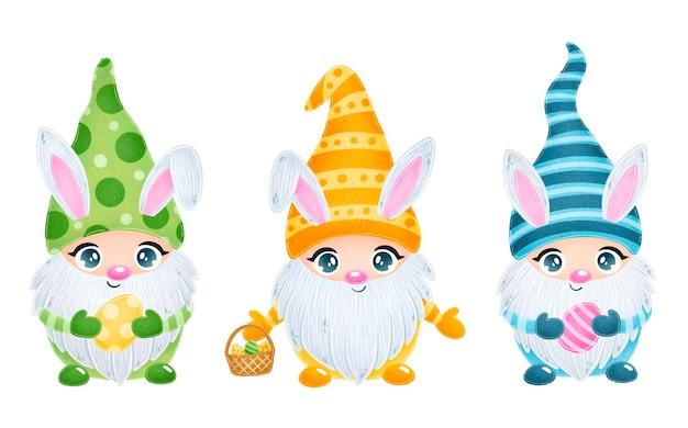 Illustrazione degli gnomi di pasqua del fumetto sveglio con le orecchie del coniglietto