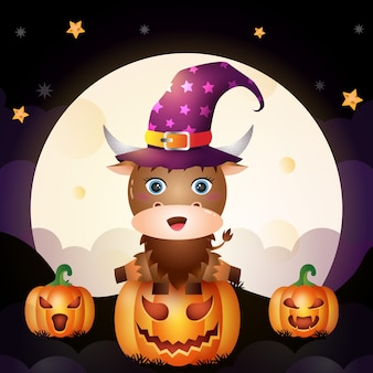 Illustrazione di un simpatico cartone animato halloween strega buffalo stand sulla parte anteriore della zucca la luna