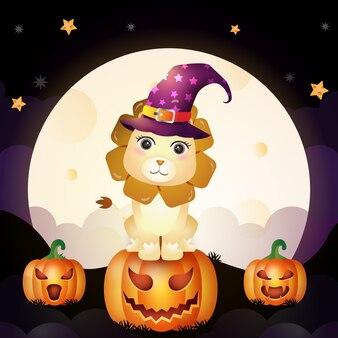L'illustrazione di un leone sveglio della strega di halloween del fumetto sta sulla parte anteriore della zucca della luna