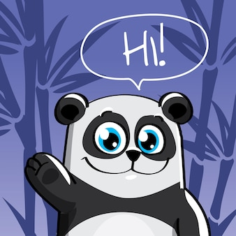 Illustrazione del simpatico cartone animato hapy divertimento panda. ciao, biglietto di auguri