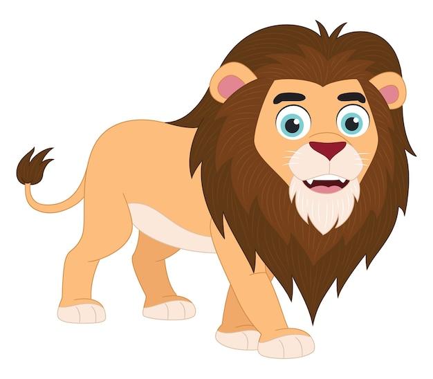 Illustrazione del leone simpatico cartone animato