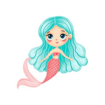 Illustrazione della sirena sveglia del fumetto con i capelli verdi isolati su priorità bassa bianca