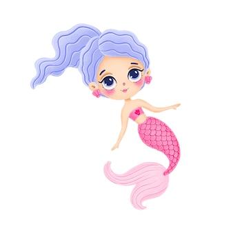 Illustrazione della sirena sveglia del fumetto con la coda rosa isolata su fondo bianco