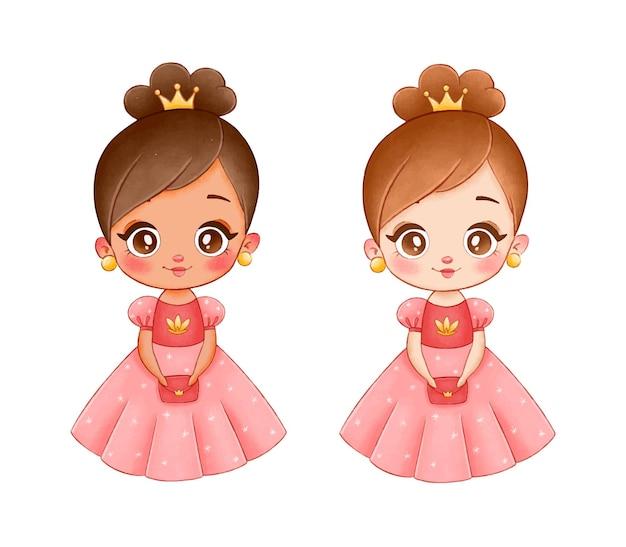 Illustrazione di una principessa simpatico cartone animato. principessa di pelle nera